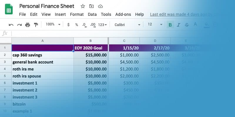 How I manage my personal finances in Google Sheets