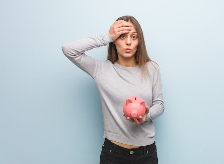 Young girl overwhelmed about her debt status