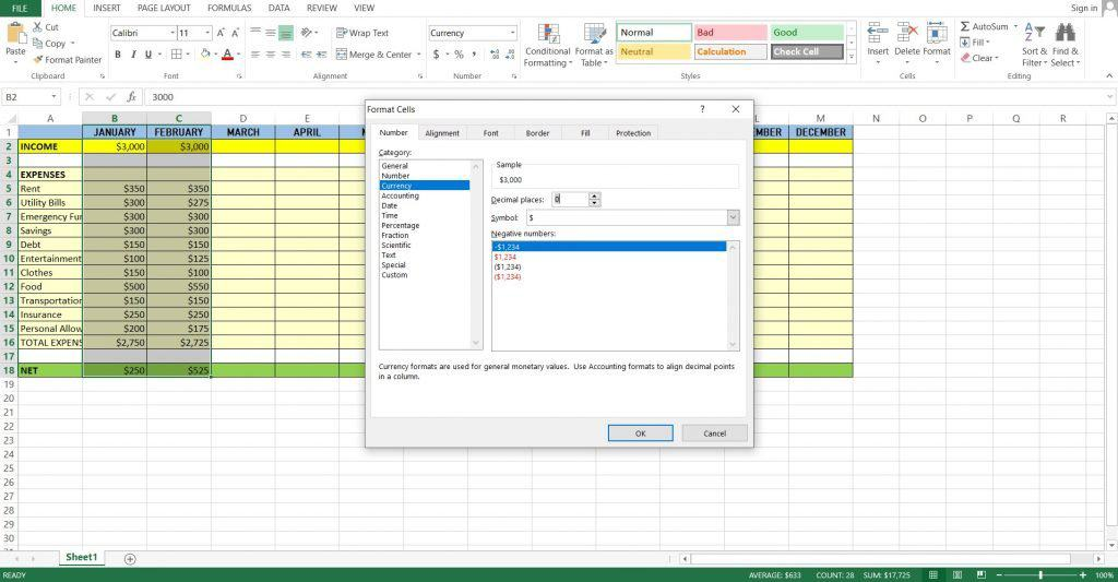 Step 12: Highlight and format the spreadsheet according to your preference. You can be creative in making your spreadsheet more appealing by adding colors and borders. This will also create a distinction making it easily understandable. Make sure to bold headings especially the Income, Total Expenses and Net. You can also format the values into the applicable currency so you don't have to manually type the currency sign every time.