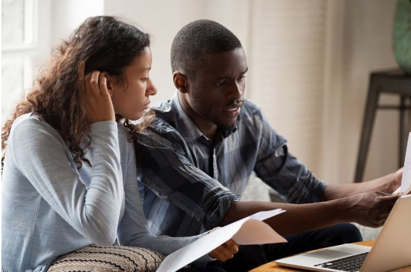 A young couple are stressed out even more after meeting their financial advisor, who is using fear tactics to stress them about their money allocation mistakes.